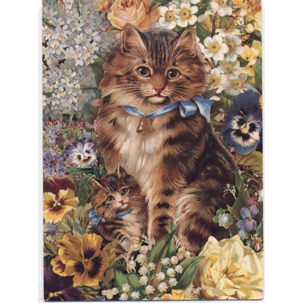 Dobbelt kort<br>Katte i blomsterbed