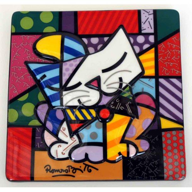 Romero Britto væg-relief<br>Blue Cat