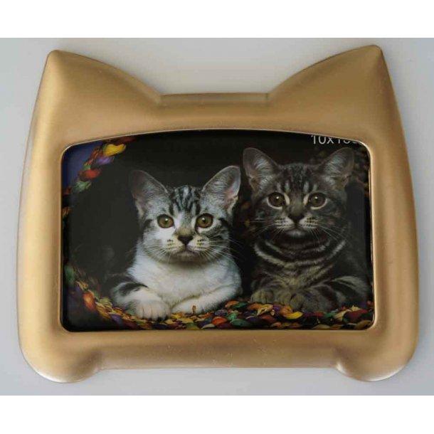 Fotoramme guld<br>med kattehoved-silhuet