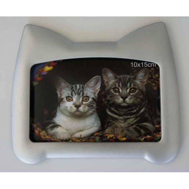 Fotoramme sølv<br>med kattehoved-silhuet