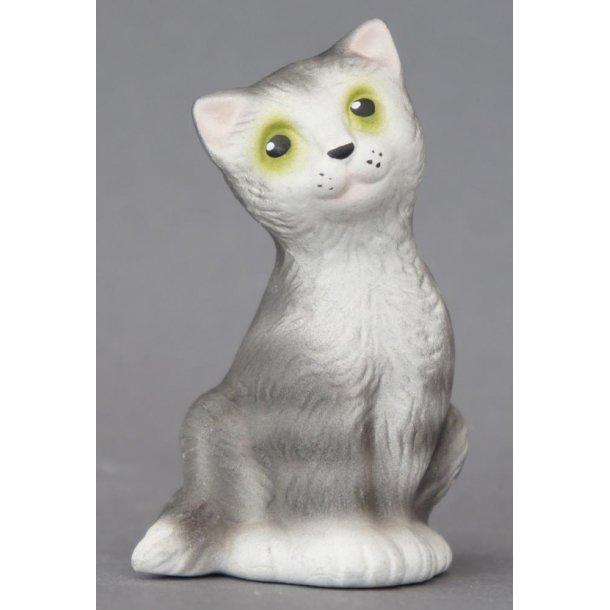 Siddende grå kat