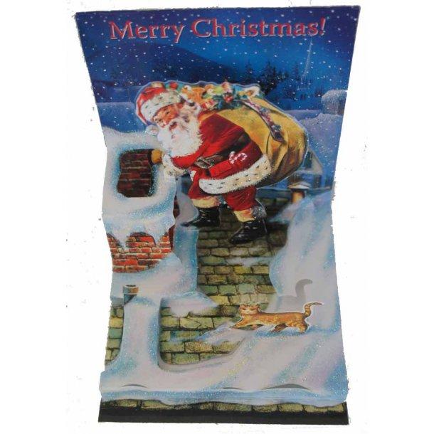 Kat og julemand på taget<br>Pop-up-julekort