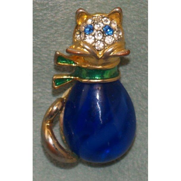 Blå kat- broche