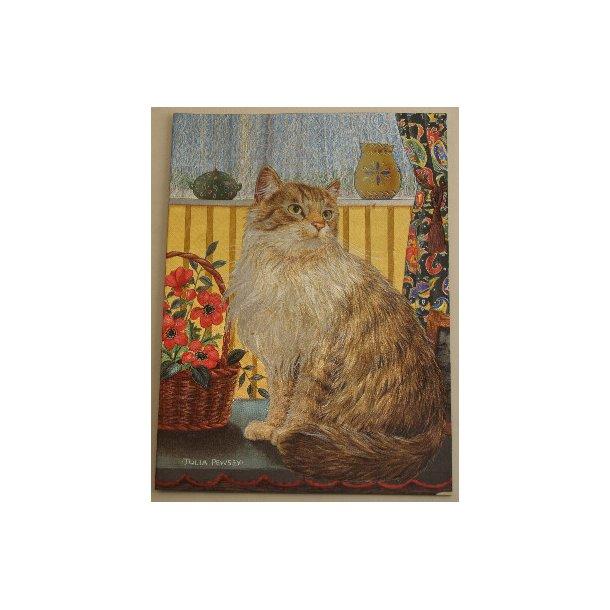 3-D Sølvkort<br>Halvlanghåret kat med blomsterkurv