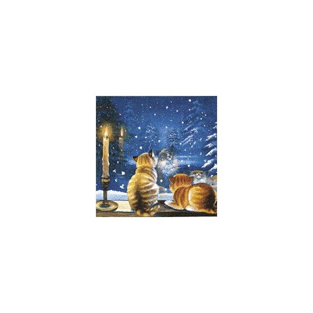 Jule-lunchserviet<br>Katte kigger på sne