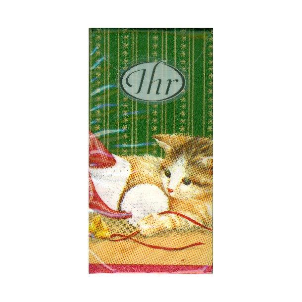 Jule-lommetørklæde<br>Kat og mus og nissehue