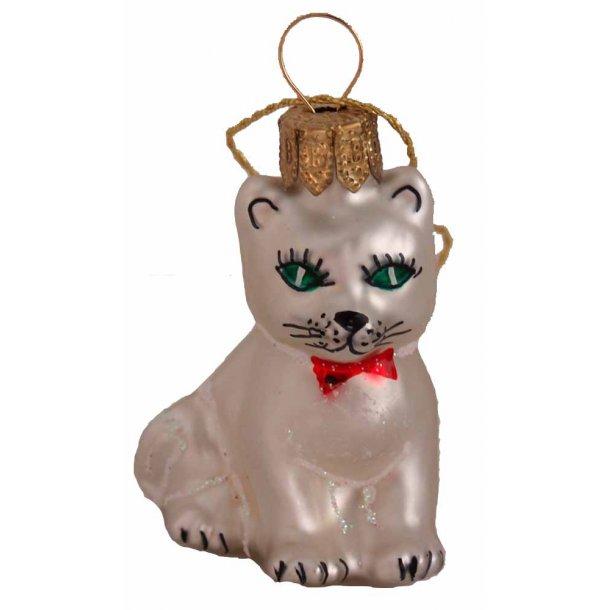 Sølvhvid kat glasfigur<br>Ophæng til juletræet