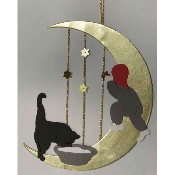 Nissen, katten og månen<br>Papirklip-mobile