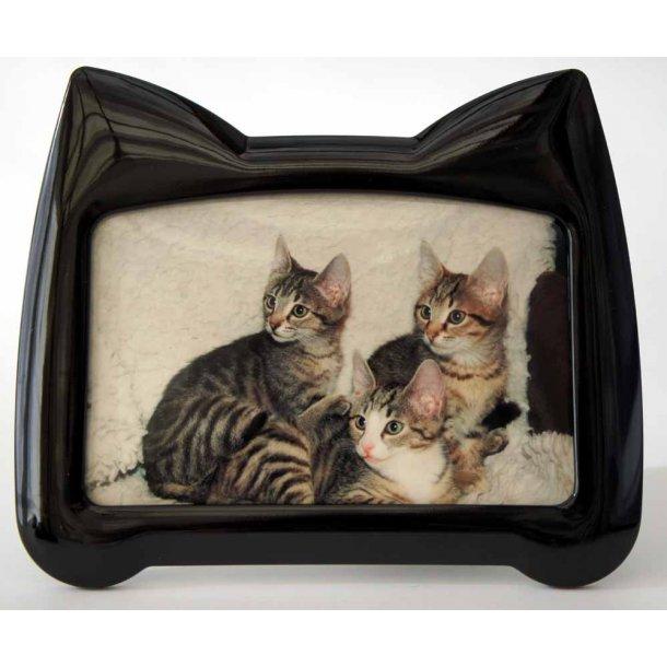Fotoramme sort<br>med kattehoved-silhuet