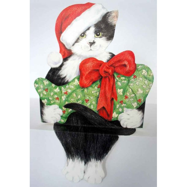 Selvsiddende katte-julekort